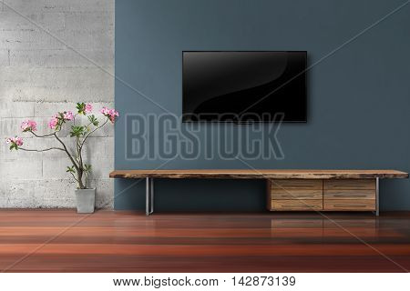 Living Room Led Tvs On Concrete Wall With Wooden Table Media Furniture