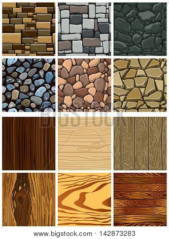 Seamless pattern with beach stones and wooden. Vector stone wall.