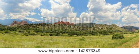 Panoramic view of the Garden of the Gods in Colorado Springs - Stitched from 8 photos