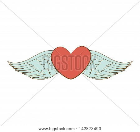 heart love wing passion decoration  red valentine  vector  isolated illustration