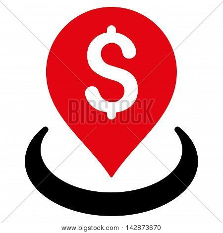 Bank Placement icon. Vector style is bicolor flat iconic symbol with rounded angles, intensive red and black colors, white background.