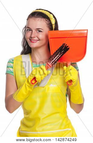 Young housewife with yellow rubber gloves isolated on white background