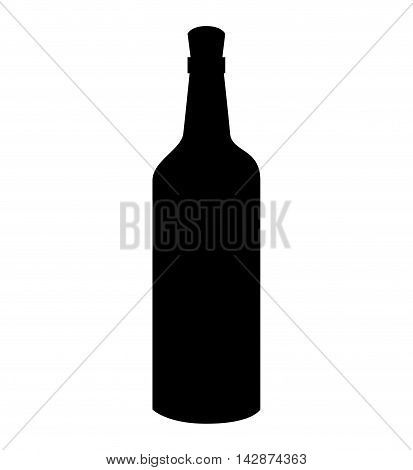 wine bottle recipient cap liquid drink glass vector  isolated illustration