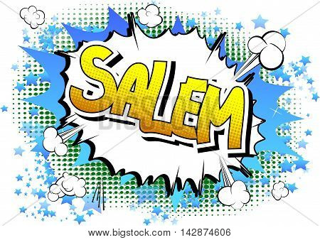 Salem - Comic book style word on comic book abstract background.