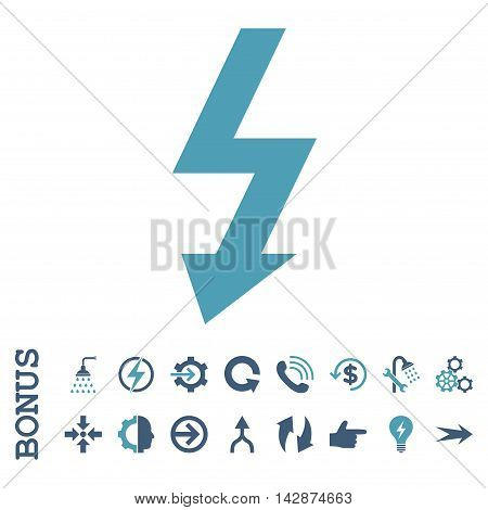High Voltage vector bicolor icon. Image style is a flat iconic symbol, cyan and blue colors, white background.