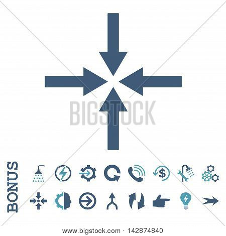 Impact Arrows vector bicolor icon. Image style is a flat iconic symbol, cyan and blue colors, white background.