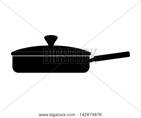 pan frying kitchen utensil handle cook fry cap vector  isolated illustration