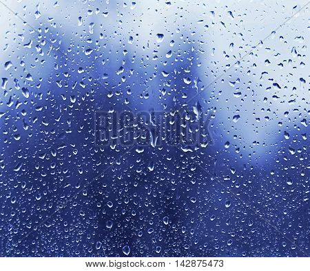 Texture of glass with natural water drops