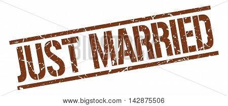 just married stamp. brown grunge square isolated sign