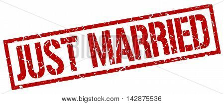 just married stamp. red grunge square isolated sign