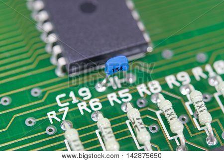 the Closeup of new electronic circuit board