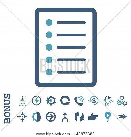 List Page vector bicolor icon. Image style is a flat iconic symbol, cyan and blue colors, white background.