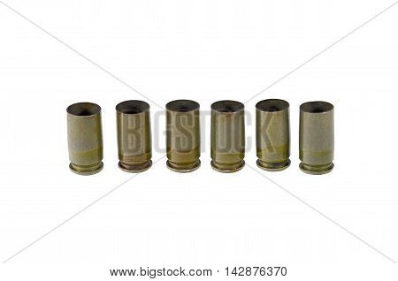 9 mm caliber pistol old bullet on white background