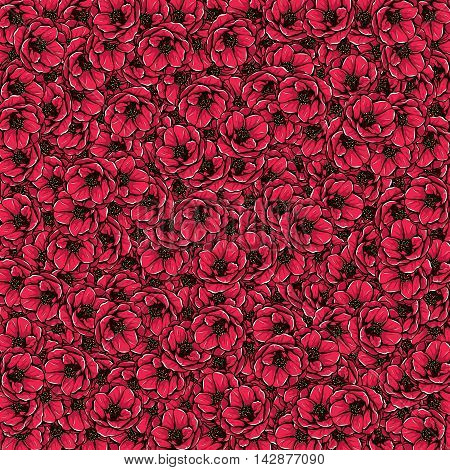 Full decorative background with camellia. Floral illustration.