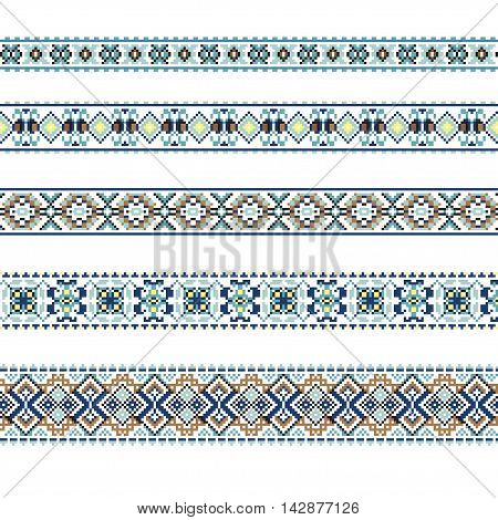 Set of Ethnic ornament pattern in blue and brown colors. Vector illustration. From collection of Balto-Slavic ornaments