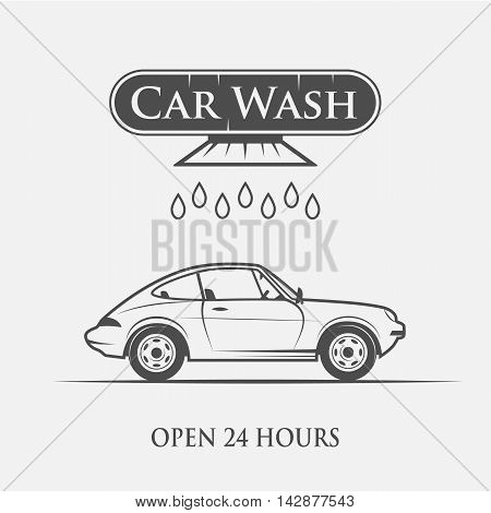 car wash service logo vintage style - vector illustration