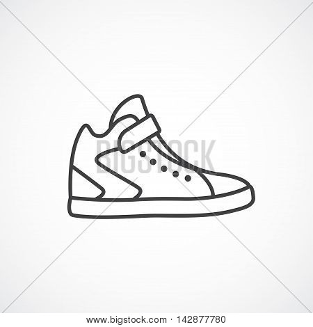 High sneakers icon. Men's , women's running shoes. Vector line icon