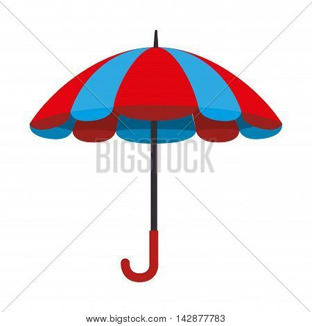 umbrella striped color handle rain open parasol weather vector  isolated illustration
