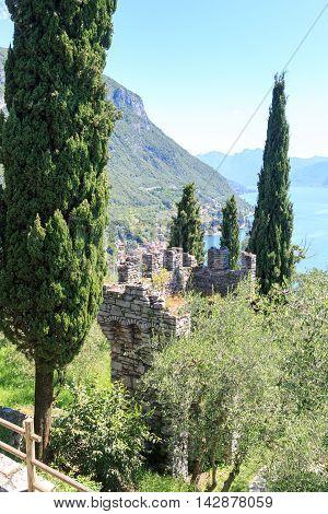 Castle Castello di Vezio tower near Varenna at Lake Como Lake Como Lombardy Italy
