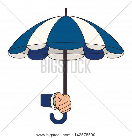 hand holding umbrella striped color handle rain open weather vector  isolated illustration