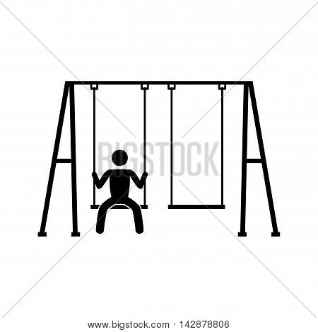 swing children structure seat person game recreation human front sit vector  isolated illustration