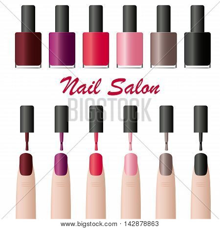 Nail Polish in the package. Glamorous tube of colored lacquers. Design for manicure beauty salon. Cosmetics for women. Set of various fashion colors. Isolated on white finger. Vector illustration.