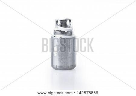 Closeup of coil for e-cig atomizer on white