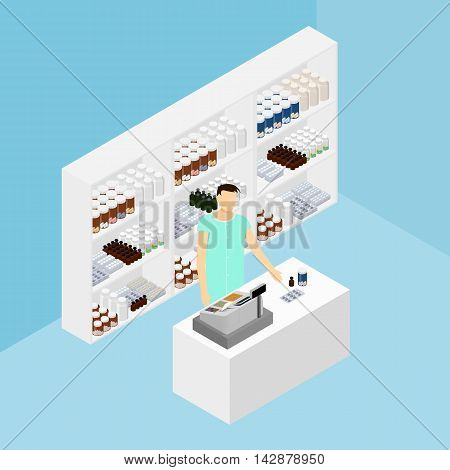 Pharmacy in isometric. Drug store. The pharmacist at the cash machine. Shelves with pills and vitamins. Products for sick people. Vector illustration.