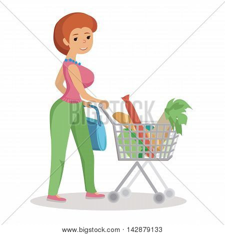 Woman pushing supermarket shopping cart full of groceries. Flat style vector illustration.