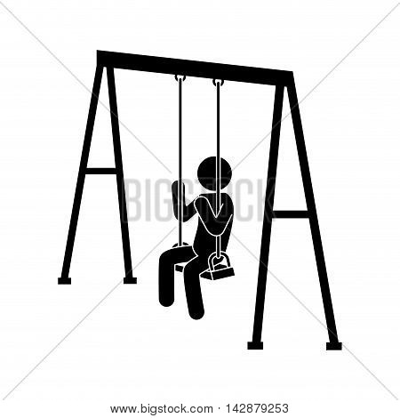 swing children structure seat person game recreation human side sit vector  isolated illustration