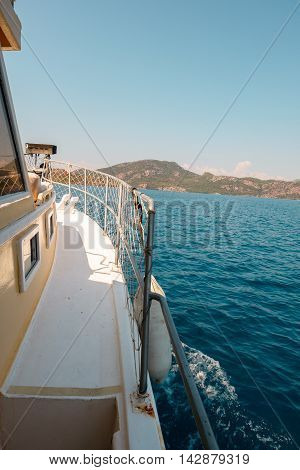 Side of a boat on the waving sea Turkey