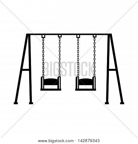 swing children structure seat chain game recreation playground front sit vector  isolated illustration