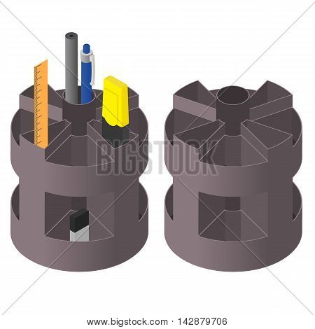 Box for stationery. Isometric style. Pen pencil and highlighter. Ruler and eraser in the cells. Isolated on white background. Vector illustration.