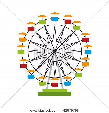 ferris wheel fair entretaiment round attraction fun vector  isolated illustration