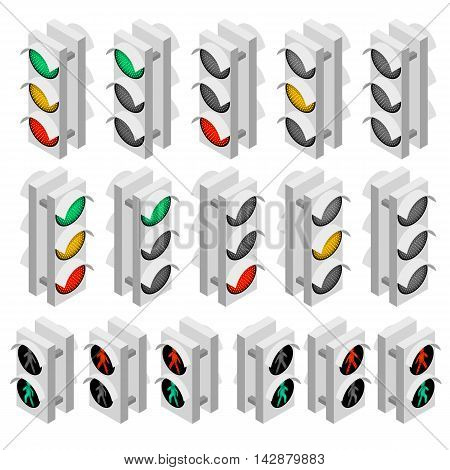 Set of white Traffic Lights for cars and pedestrians with LED backlight. Stop and start of the signal. Flat isometric. An isolated white background. Rules of the road. Vector illustration.