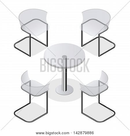 Set of transparent isometric chairs and a round table for the kitchen interior room cafe or restaurant. Modern fashion design. Isolated on white background. Vector illustration.