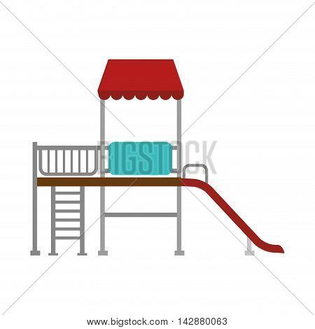 playground slide park house children child kid activity recreation playhouse vector  illustration isolated
