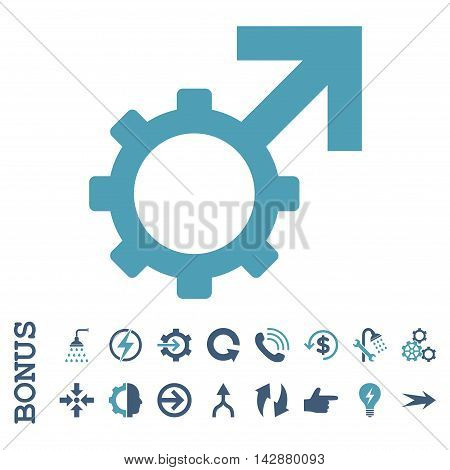 Technological Potence vector bicolor icon. Image style is a flat pictogram symbol, cyan and blue colors, white background.