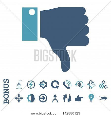 Thumb Down vector bicolor icon. Image style is a flat iconic symbol, cyan and blue colors, white background.