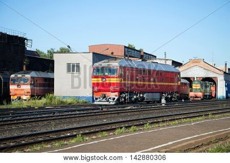 RYBINSK, RUSSIA - JULY 10, 2016: Passenger diesel locomotive TEP-70 locomotive depot railway station Rybinsk