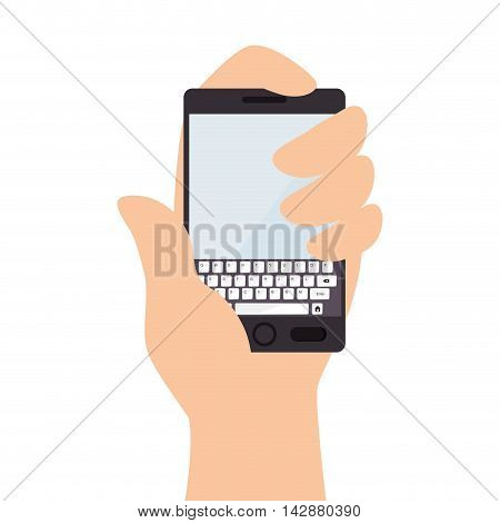 smartphone hand finger screen mobile phone  technology buttons keyboard portable display vector  isolated and flat illustration