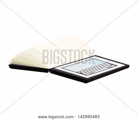tablet device screen book pages  ipad touch technology computer vector  isolated and flat illustration