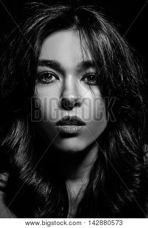 Black and white glamor woman portrait dark beautiful face