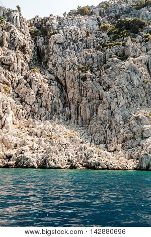 Rock coastline in the blue sea Turkey
