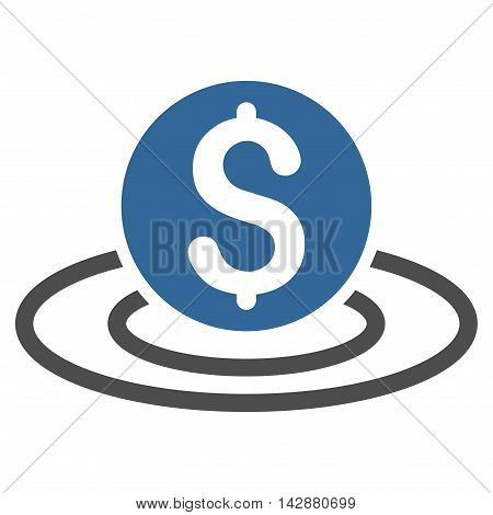 Dollar Coin Area icon. Vector style is bicolor flat iconic symbol with rounded angles, cobalt and gray colors, white background.