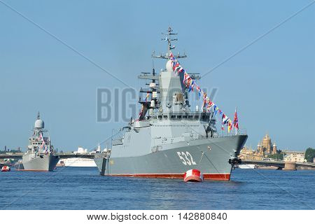 ST. PETERSBURG, RUSSIA - JULY 28, 2016: Patrol corvette