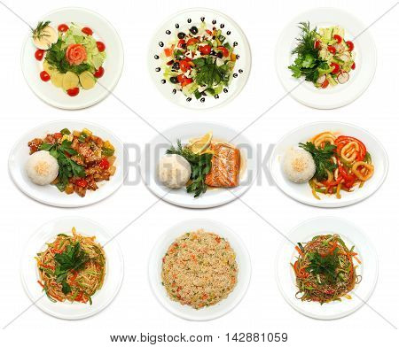 Asian cuisine - gourmet food on plate isolated set