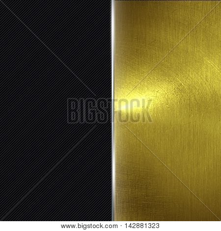 shiny gold fix wall and black carbon fiber. gold background and texture. 3d illustration.
