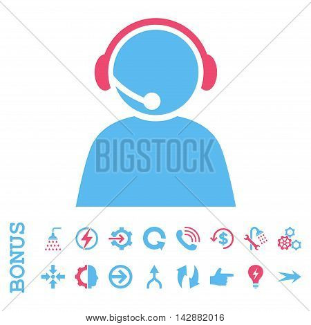 Call Center Operator vector bicolor icon. Image style is a flat iconic symbol, pink and blue colors, white background.