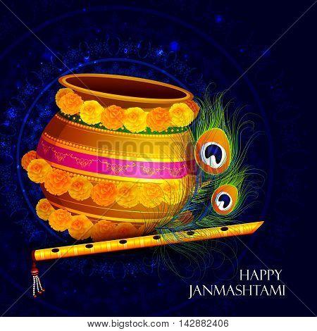 easy to edit vector illustration of Happy Krishna Janmashtami Dahi Handi meaning cream and pot background